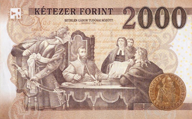 Gabor Bethlen unter seinem Wissenschaftlerbild von Madarasz Viktor zu Ungarisch 2000 Forints 2013 Banknote-Fragment lizenzfreies stockbild