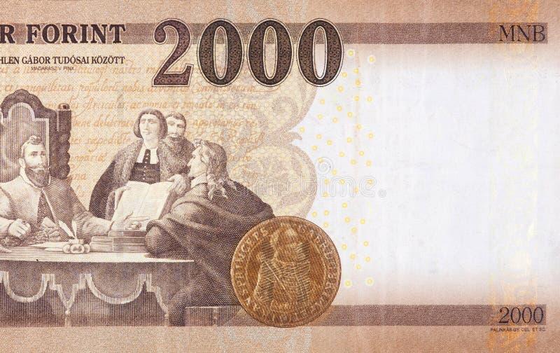 Gabor Bethlen unter seinem Wissenschaftlerbild von Madarasz Viktor zu Ungarisch 2000 Forints 2013 Banknote-Fragment stockbild