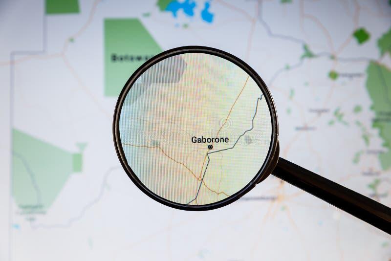 Gaborone, Botswana e mapa polityczny u fotografia stock