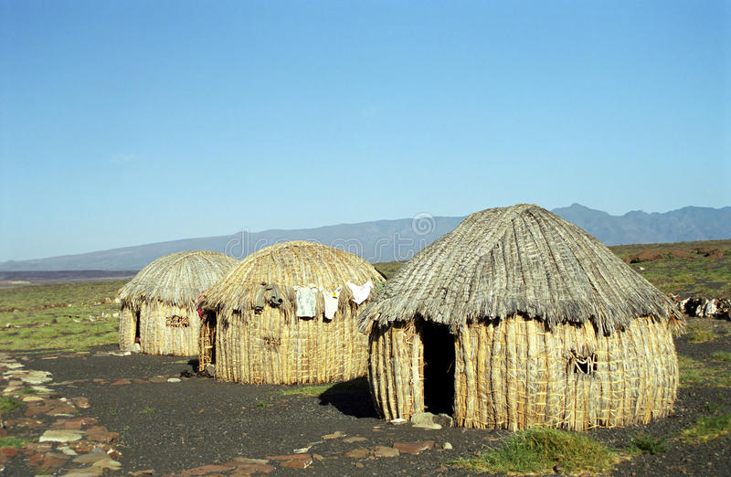 Gabra huts, Lake Turkana, Kenya stock images