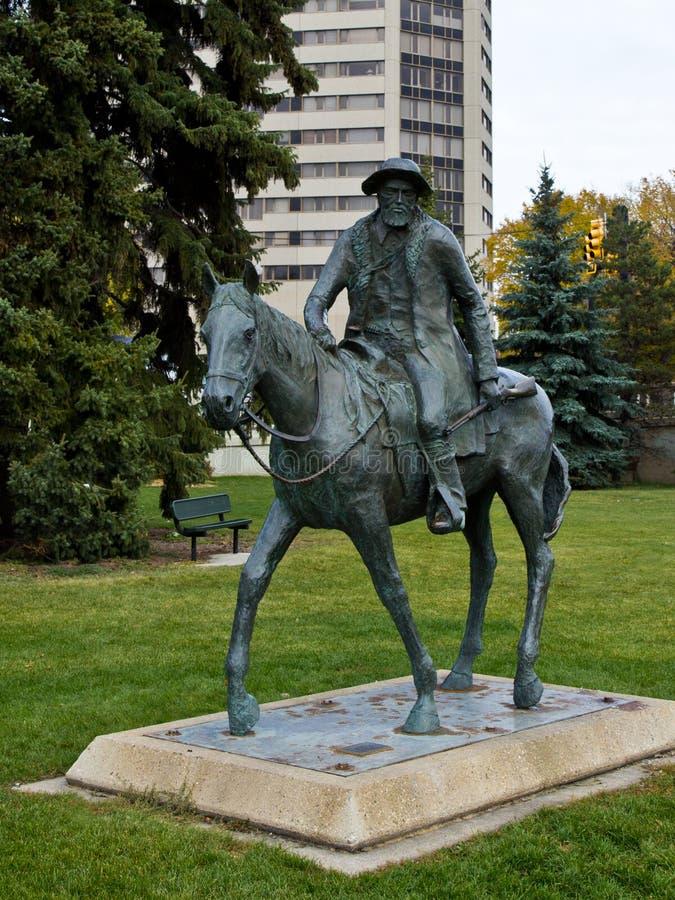 Gabriel Dumont monument i Saskatoon royaltyfri fotografi