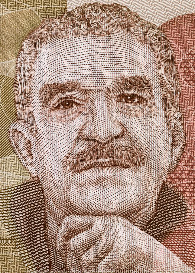 Gabriel Garcia Marquez portrait on Colombia peso banknote closeup macro, great Colombian writer, Nobel Prize winner. stock photo