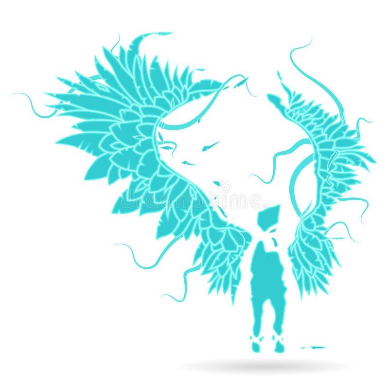 Gabriel pastuch, sentine Wektorowa ilustracyjna płomienia anioł z ampułą rozszerzającą sylwetka, uskrzydla ilustracji