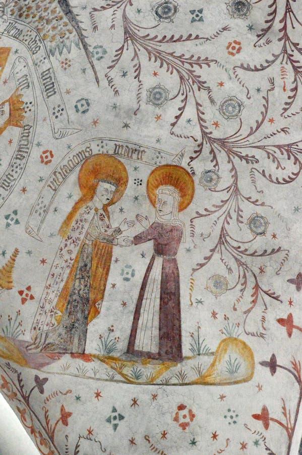 Gabriel rend visite à Mary - églises Frescoed d'église de Møn - de Keldby photographie stock