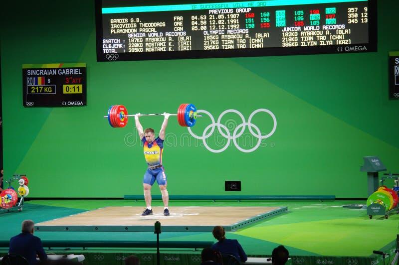 Gabriel Sincraian de Rumania, weightlifter en las Olimpiadas imágenes de archivo libres de regalías