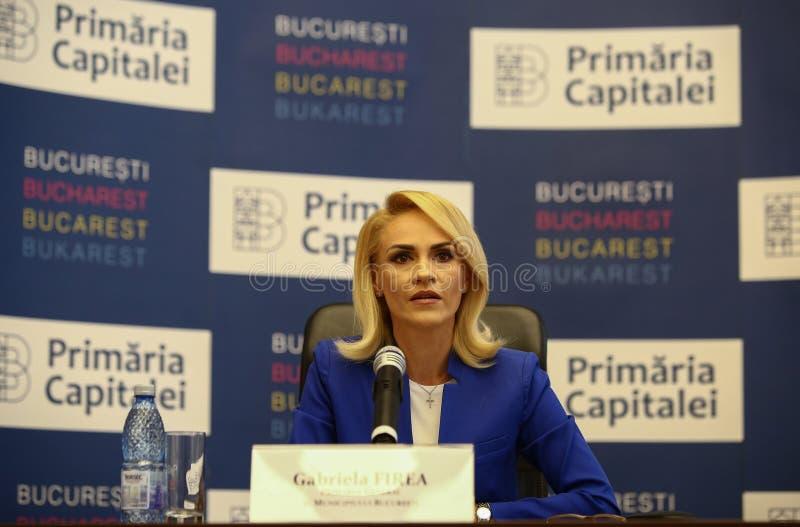 GABRIELA FIREA - BÜRGERMEISTER OF BUKAREST stockfotografie
