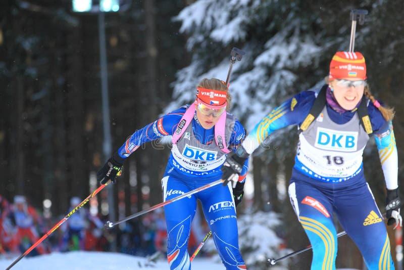 Gabriela Soukalova - biathlon royaltyfria foton