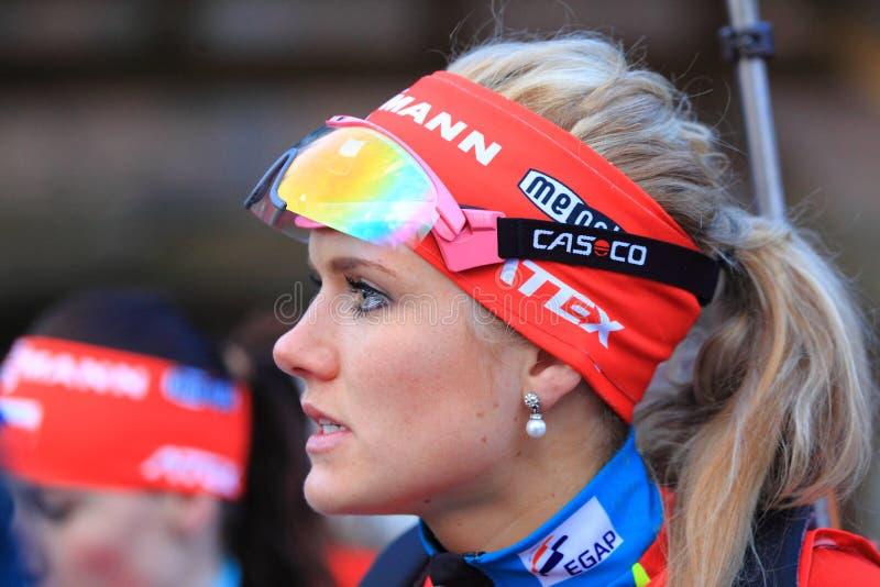 Gabriela Soukalova - biatlhlon royaltyfria foton
