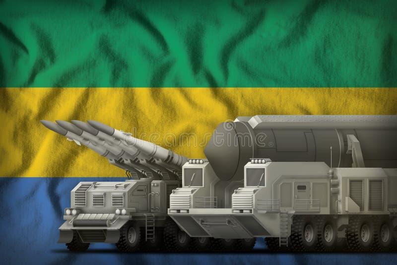 Gabun-Raketentruppenkonzept auf dem Staatsflaggehintergrund Abbildung 3D lizenzfreie abbildung