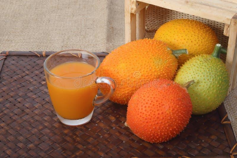 Gac果子、婴孩波罗蜜和汁液 免版税库存照片