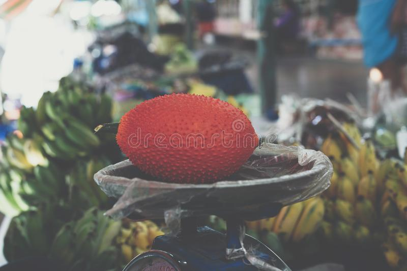 Gac frukt (behandla som ett barn jackfruiten, den Cochinchin kalebassen royaltyfri fotografi