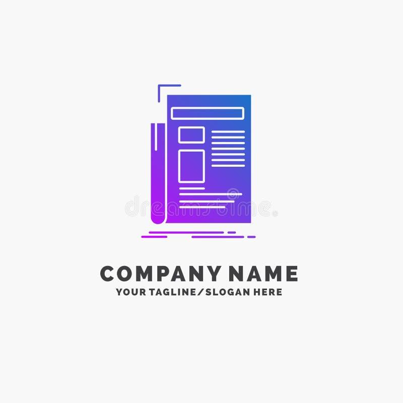 Gaceta, medio, noticias, hoja informativa, negocio púrpura Logo Template del periódico Lugar para el Tagline libre illustration
