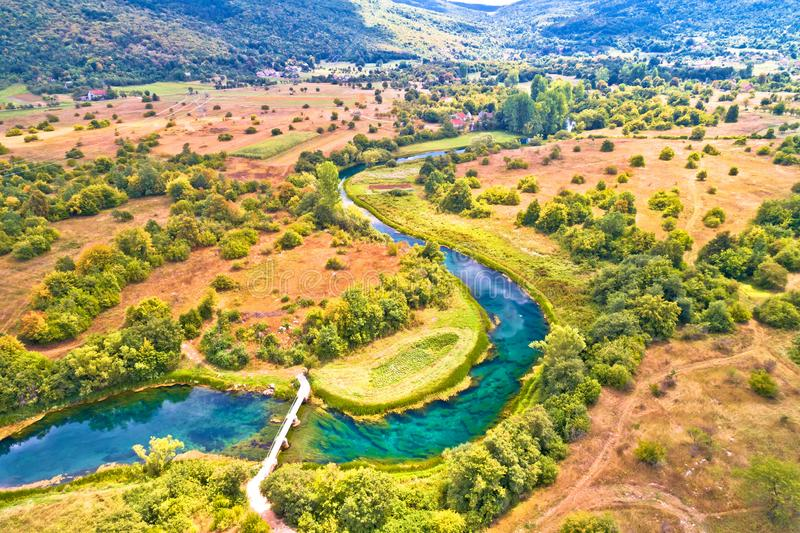 Gacka river valley aerial view. Lika region of Croatia royalty free stock image