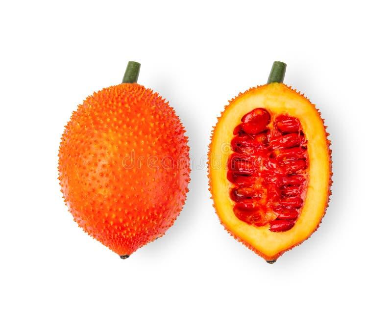 Gackfrüchte, Baby Jackfruit, Spiny Bitter Gourd, Sweet Grourd oder Cochinchin Gourd, auf weißem Grund isoliert lizenzfreies stockbild