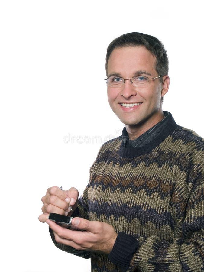 Gadżetu przypadkowy szczęśliwy mężczyzna 2 zdjęcie stock