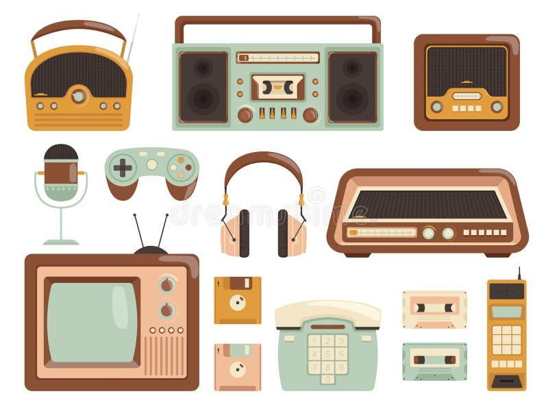 gad?ety retro 80s kasety pisaka elektronicznej taśmy odtwarzacza muzycznego radia telefonu komórkowego wektoru audio obrazki ilustracja wektor