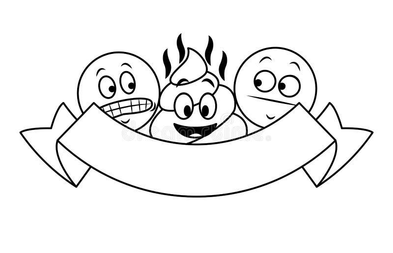 Gadek emoticons z tasiemkowym sztandarem w czarny i biały ilustracja wektor