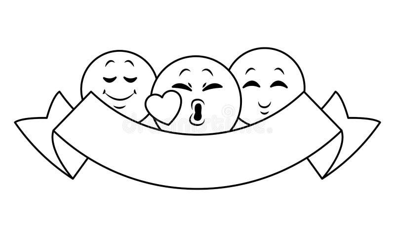 Gadek emoticons z tasiemkowym sztandarem w czarny i biały ilustracji