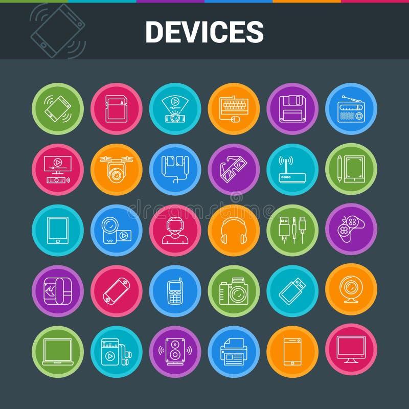 Gadget en apparaten kleurrijke pictogrammen vector illustratie