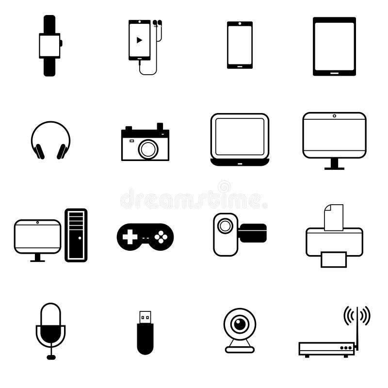 Gadget en de mobiele vastgestelde vectorillustratie van het apparatenpictogram vector illustratie