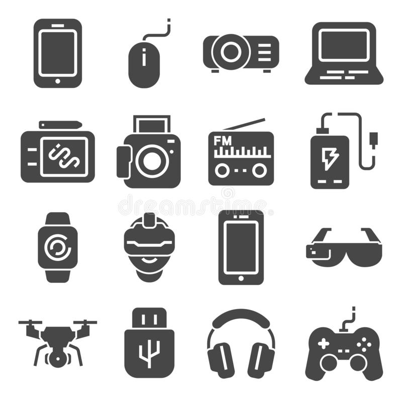 Gadget gray icons set. Joystick and memory card, device technology, camera and smartphone, vector illustration. Gadget gray icons set. Joystick and memory card vector illustration