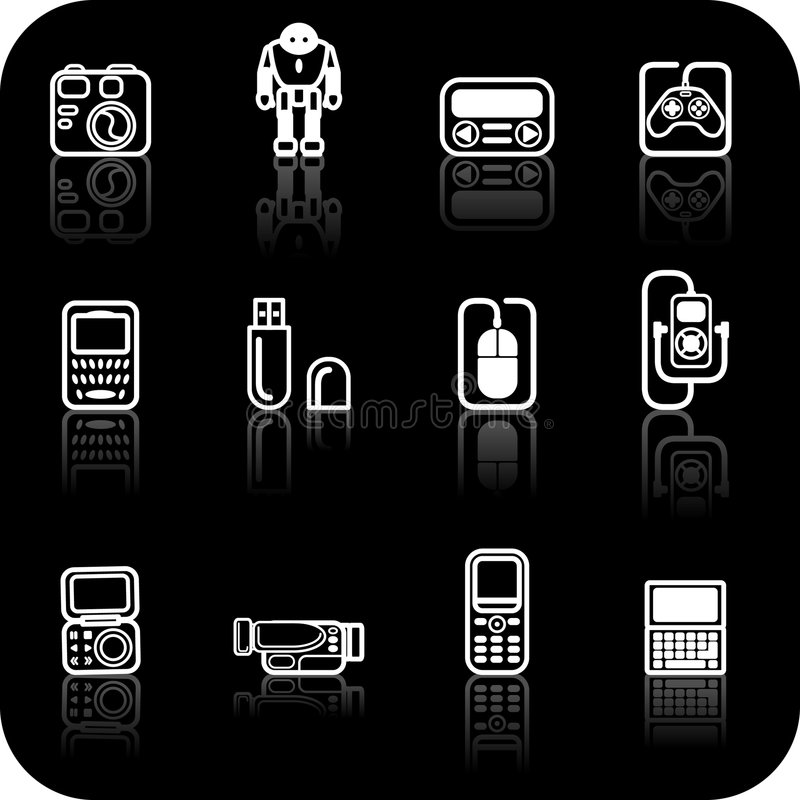Gadget Icon set. A set of white gadget icons on black background