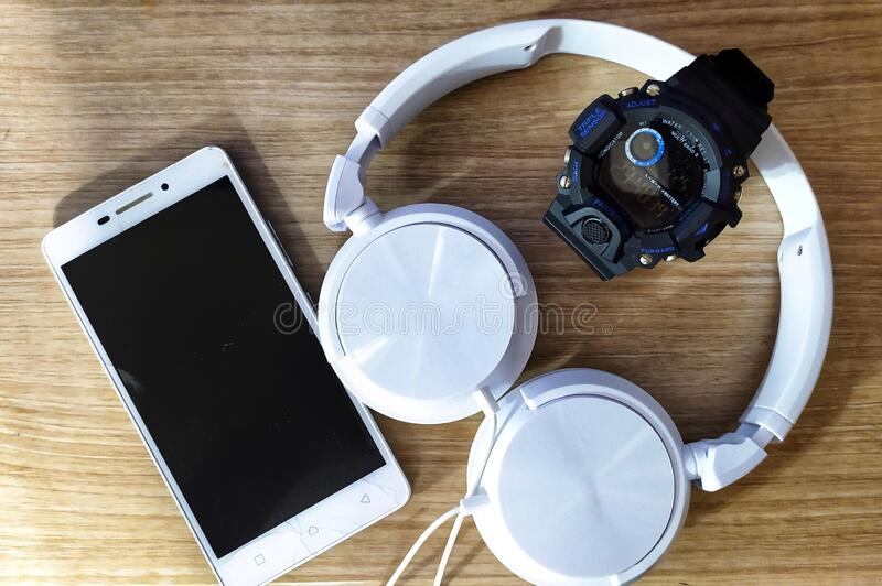 Gadget. Watch headphone stock photo