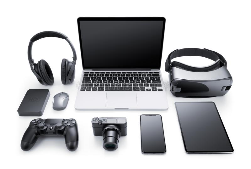 Gadgets and accessories. Isolated on white background stock photos