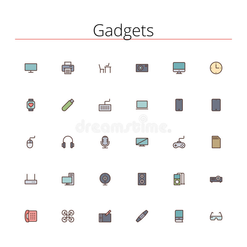 Gadgets Colored Line Icons royalty free illustration