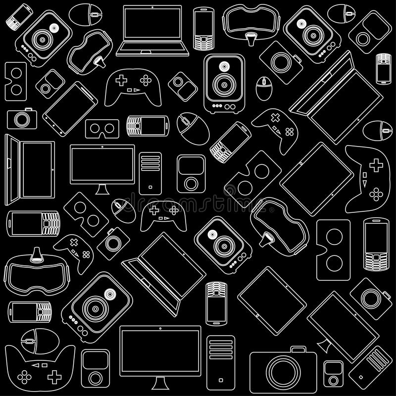 Gadgets and devices pattern. Vector illustration stock illustration