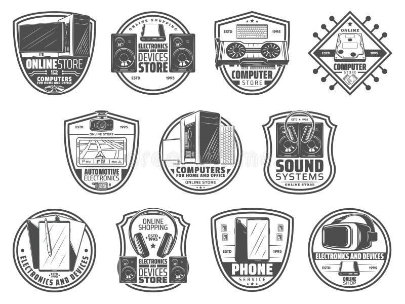 Gadgets en apparaten retro pictogrammen voor computeropslag stock illustratie