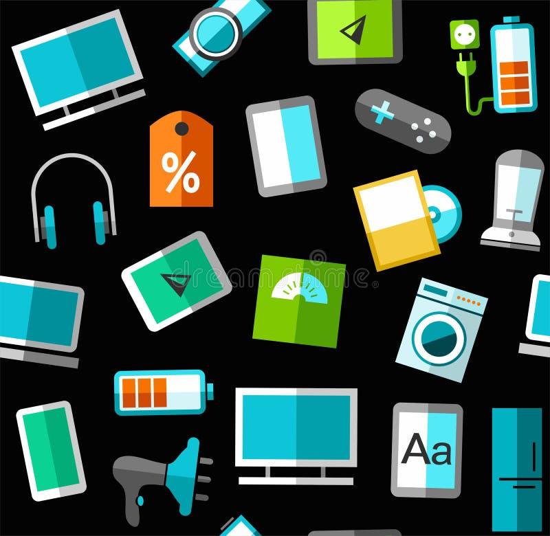 Gadgets en de elektronika van de consument, zwarte naadloze achtergrond, stock illustratie