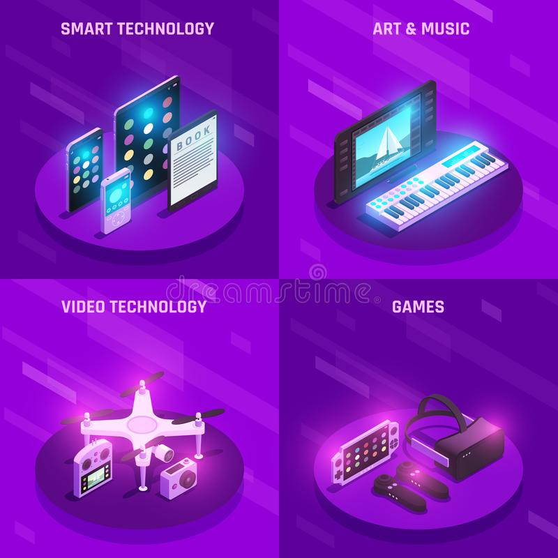 Gadgets Isometric Composition vector illustration