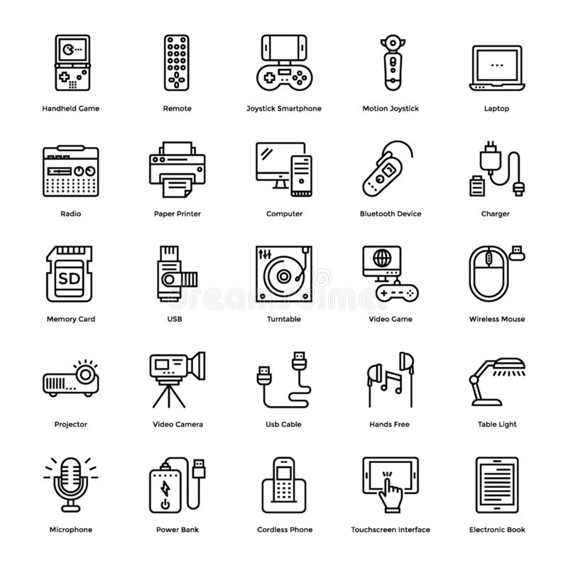 Gadgets Line Icons Set stock illustration