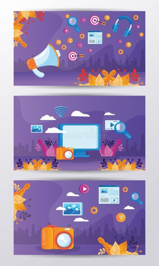 Gadgets mit Social Media Marketing Icons stock abbildung