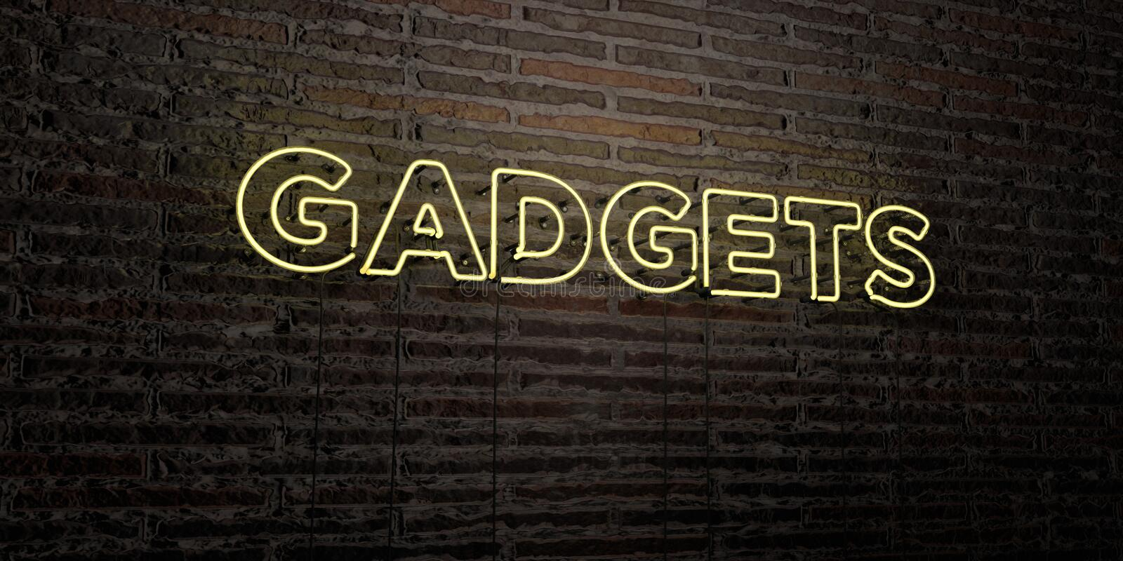 GADGETS -Realistic Neon Sign on Brick Wall background - 3D rendered royalty free stock image royalty free illustration