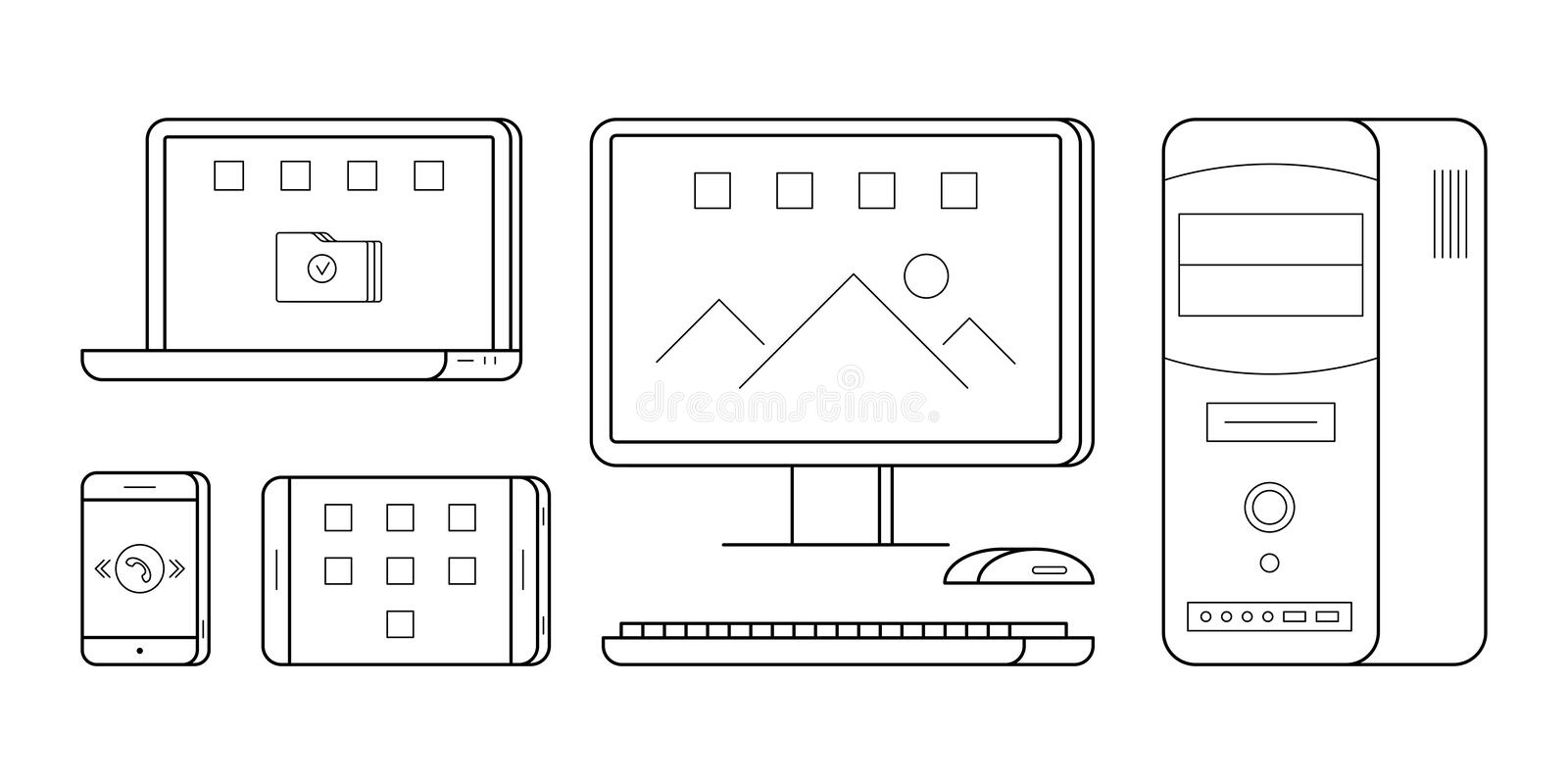 Gadgets in thin line style. vector illustration