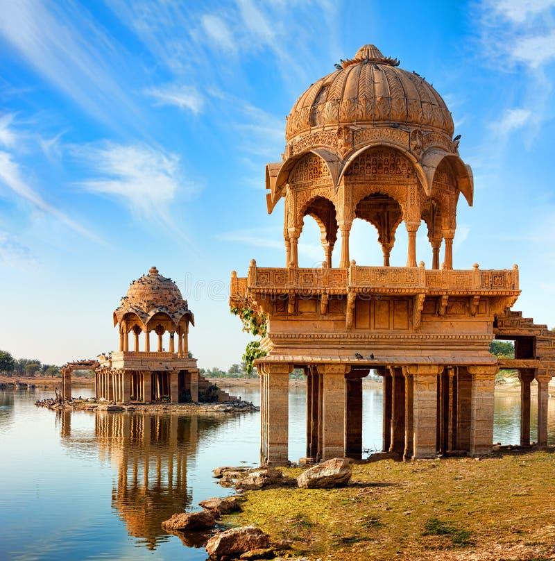 Gadi Sagar (Gadisar), Jaisalmer, Rajasthan, India, Asia. Gadi Sagar (Gadisar) Lake is one of the most important tourist attractions in Jaisalmer, Rajasthan royalty free stock images