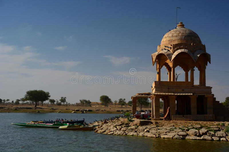 Gadisar Lake. Jaisalmer. Rajasthan. India. Jaisalmer, nicknamed The Golden city, is a city in the Indian state of Rajasthan. The town stands on a ridge of stock image