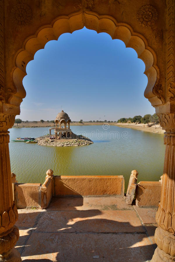 Gadisar Lake. Jaisalmer. Rajasthan. India. Jaisalmer, nicknamed The Golden city, is a city in the Indian state of Rajasthan. The town stands on a ridge of stock photo