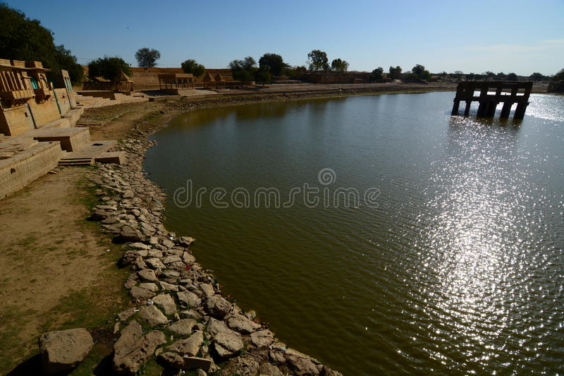 Gadisar Lake. Jaisalmer. Rajasthan. India. Jaisalmer, nicknamed The Golden city, is a city in the Indian state of Rajasthan. The town stands on a ridge of royalty free stock images
