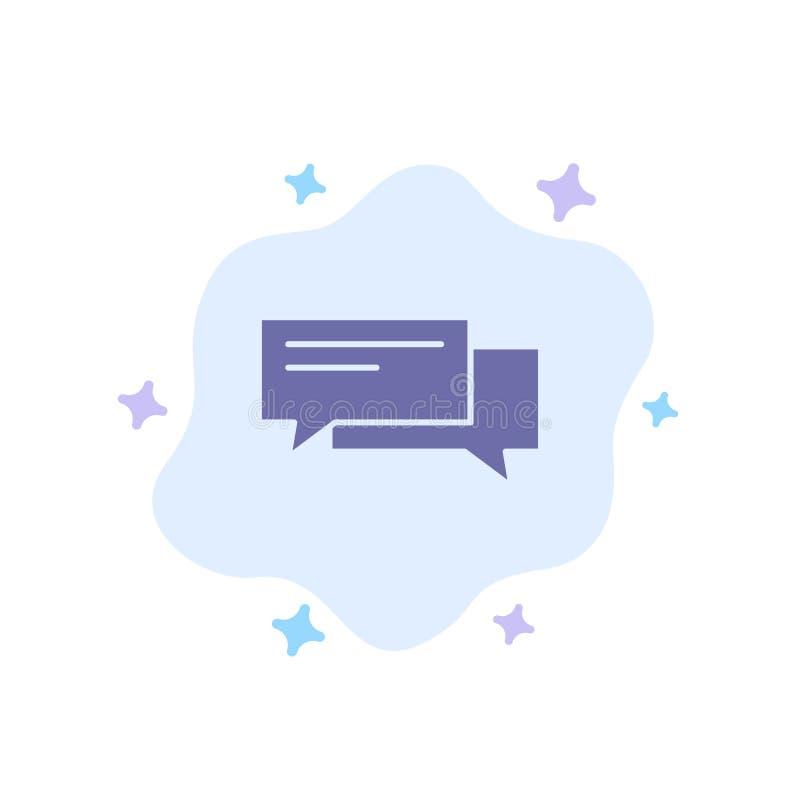 Gadka, bąbel, bąble, komunikacja, rozmowa, socjalny, mowy Błękitna ikona na abstrakt chmury tle ilustracja wektor
