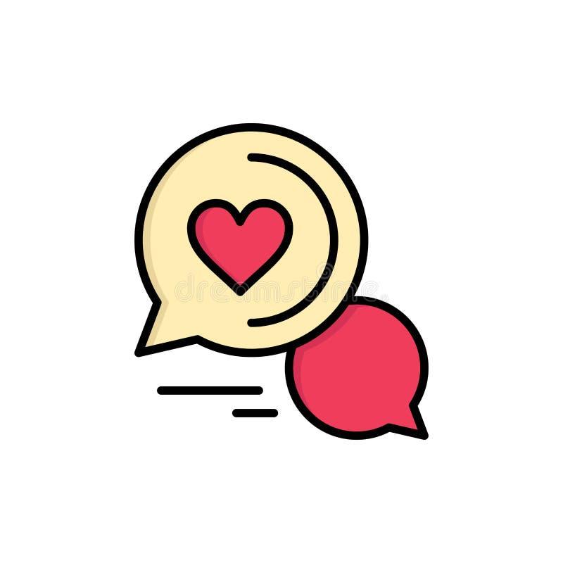Gadka bąbel, wiadomość, Sms, Romantyczna gadka, pary gadki koloru Płaska ikona Wektorowy ikona sztandaru szablon royalty ilustracja