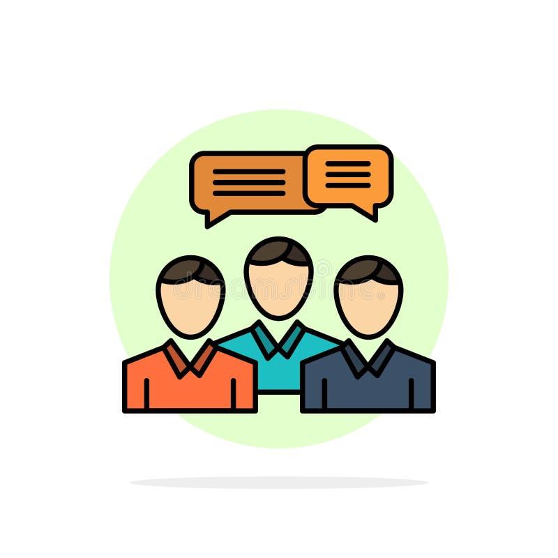 Gadka, biznes, Konsultuje, dialog, spotkanie, Onlinego Abstrakcjonistycznego okręgu tła koloru Płaska ikona royalty ilustracja