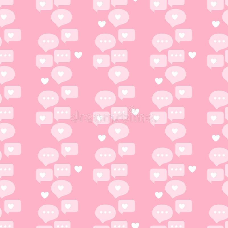 Gadka dialog mowa chmurnieje Bezszwowego wzór Wektorowy ilustracyjny abstrakt i wiadomości rozmowy bloga strona na różowym tle ko ilustracja wektor