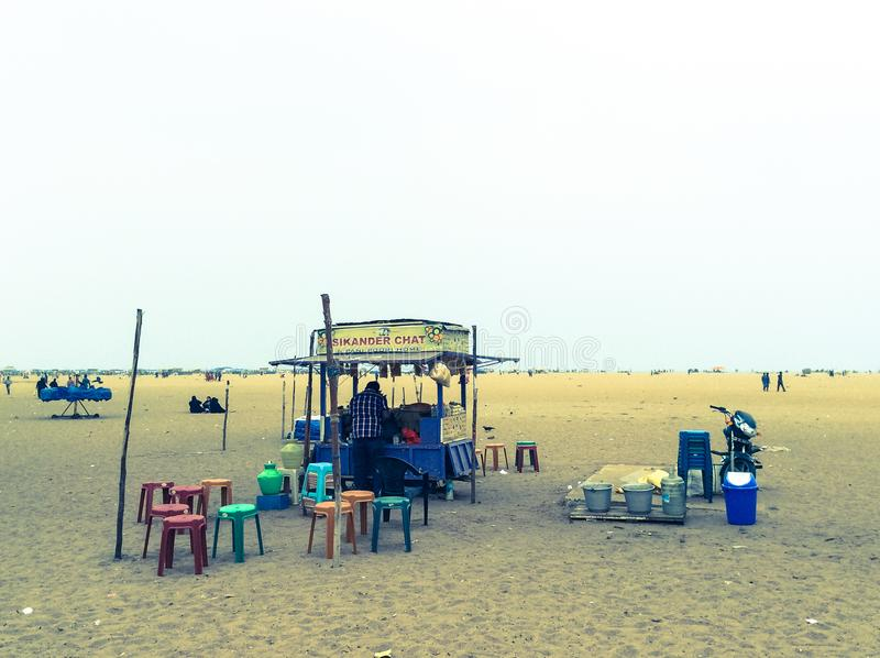 gadka teren na Chennai plaży obraz stock