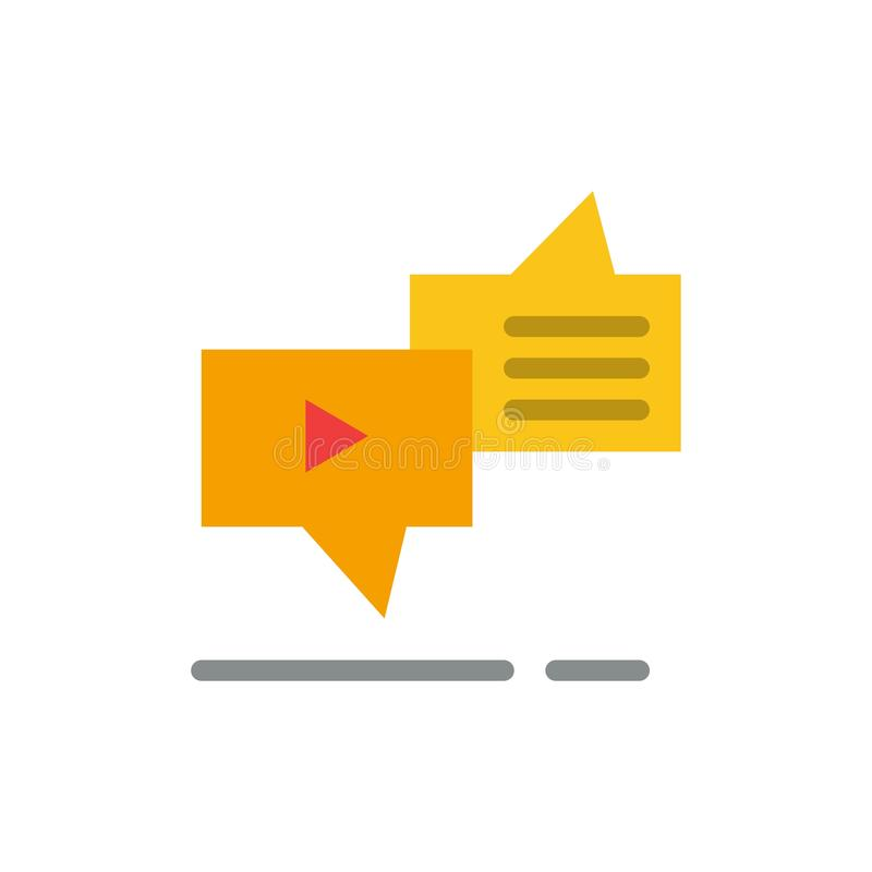 Gadka, związek, marketing, przesyłanie wiadomości, mowa koloru Płaska ikona Wektorowy ikona sztandaru szablon royalty ilustracja