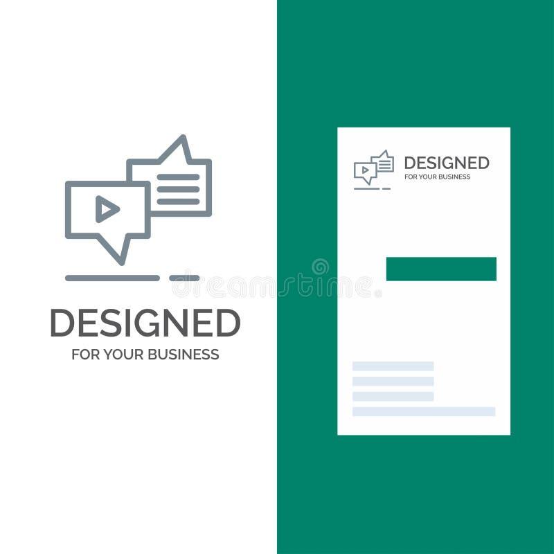 Gadka, związek, marketing, przesyłanie wiadomości, mowa logo Popielaty projekt i wizytówka szablon, ilustracji