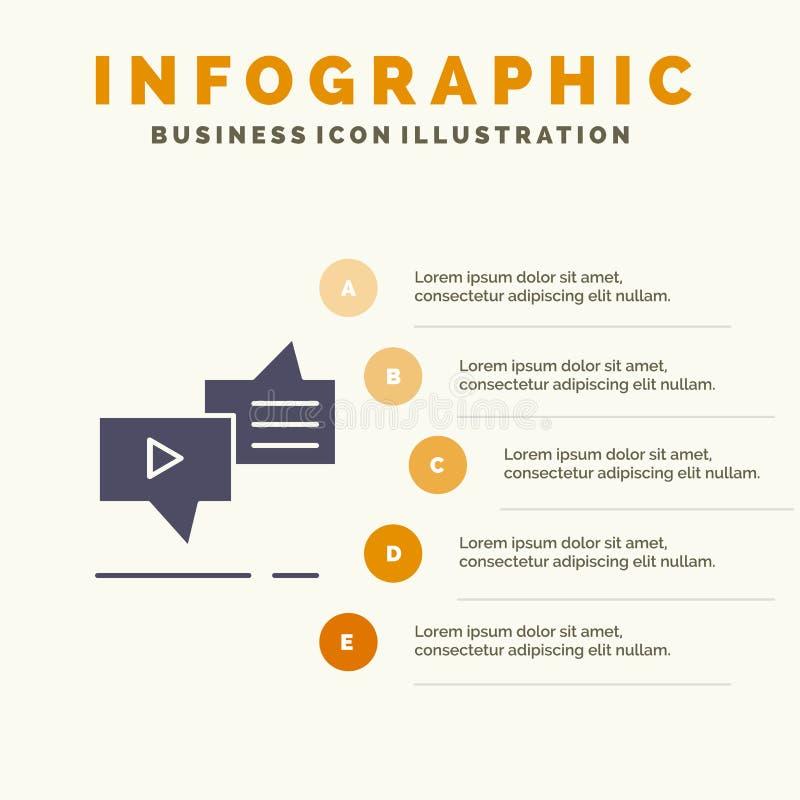 Gadka, związek, marketing, przesyłanie wiadomości, mowy ikony Infographics 5 kroków prezentacji Stały tło ilustracja wektor