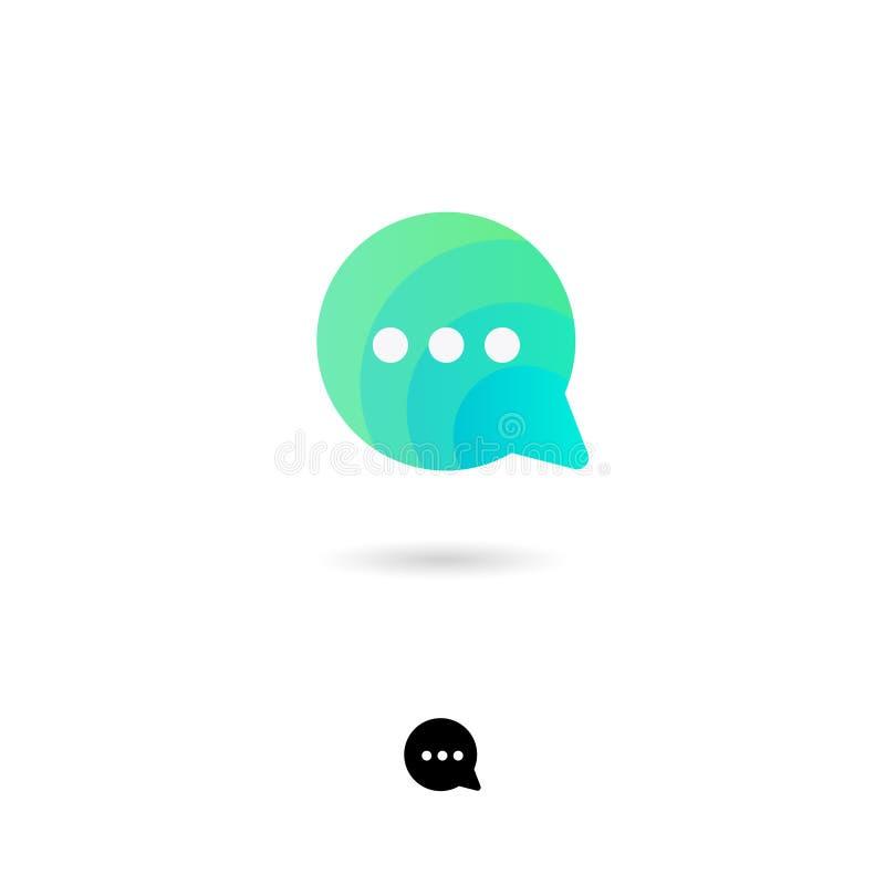 Gadki ikona, UI Sieć guzik Gadka, komunikacja, rozmowa, rozmowa, ewidencyjnej wymiany ikona Bąbla symbol z cieniem ilustracja wektor